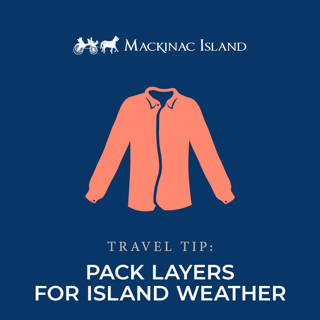 Graphic shows a travel tip to pack layers of clothing for Mackinac Island weather, which is variable in every season