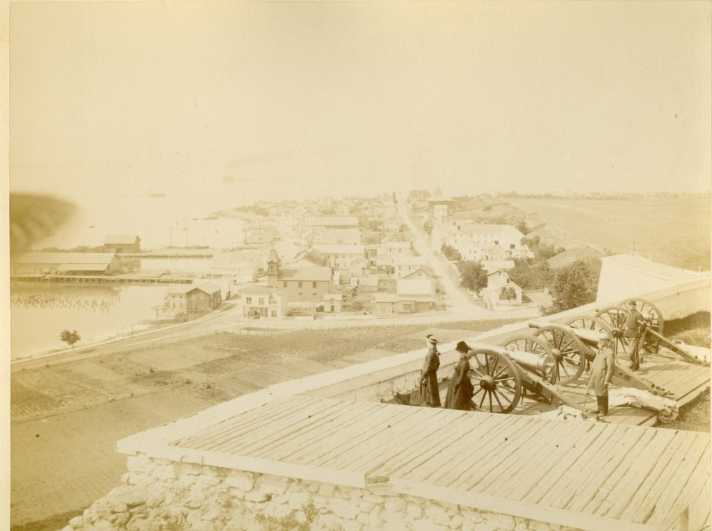 During the Mackinac National Park era in the late 1800s, Fort Mackinac overlooked downtown Mackinac Island.