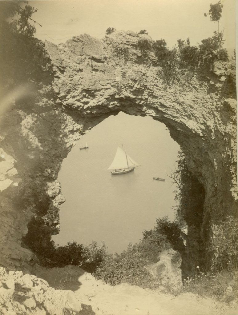 During the Mackinac National Park era in the late 1800s, Arch Rock was a great spot for photos high above Lake Huron.