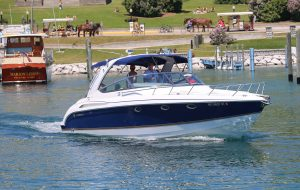 One way of getting to Mackinac Island is by taking a personal boat and docking it in the public marina in Haldimand Bay.
