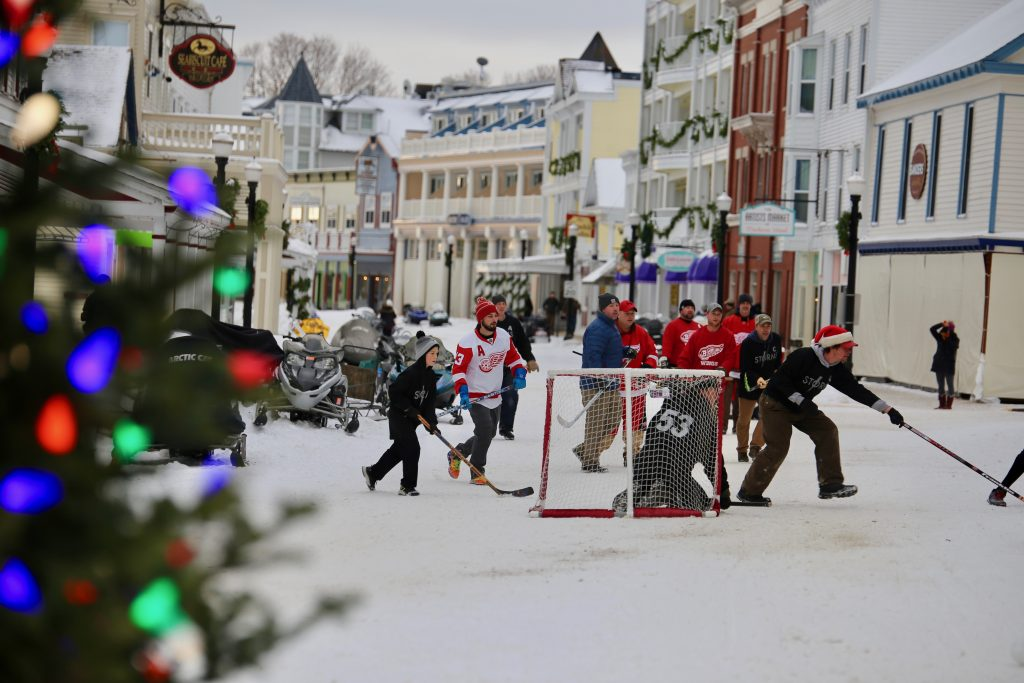 Street hockey is a popular winter activity on Mackinac Island for both year-round residents and offseason visitors alike.