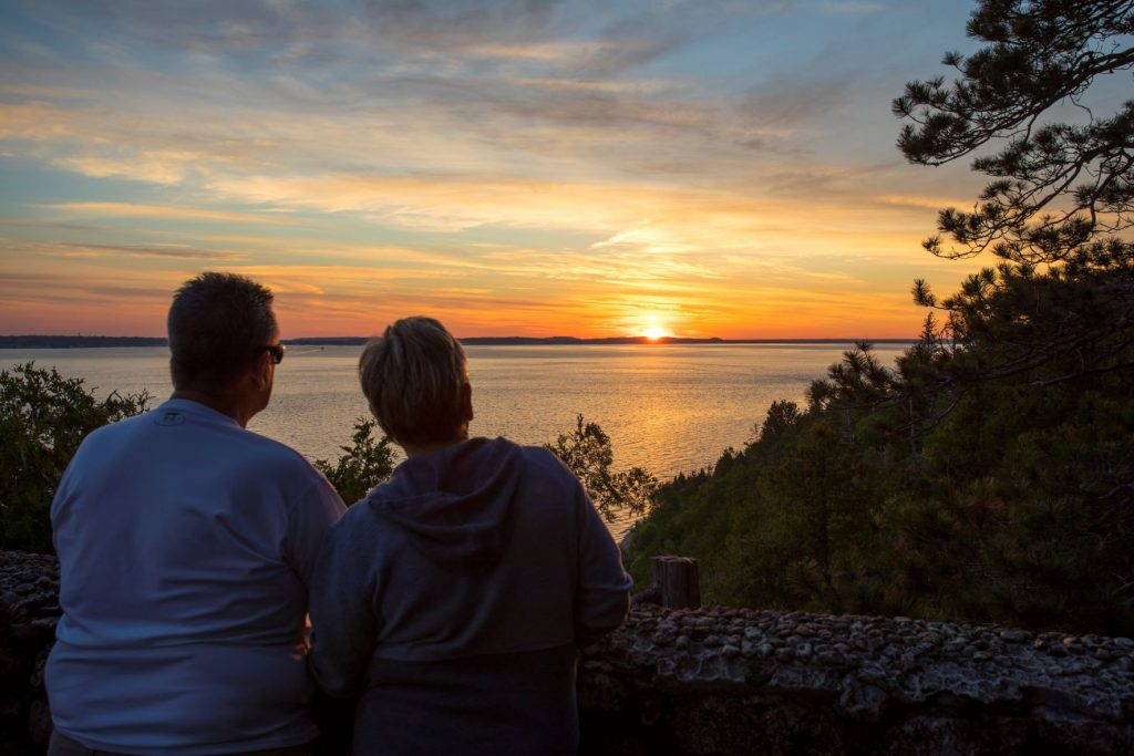 Mackinac Island's Sunset Rock near the Inn at Stonecliffe is a worthwhile destination after a hearty hike or bike ride.