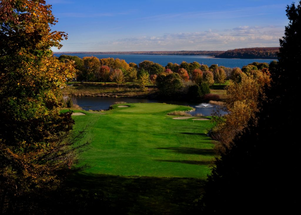 Fall golf on Mackinac Island offers spectacular views of rich green fairways, deep blue water and vibrant fall colors.